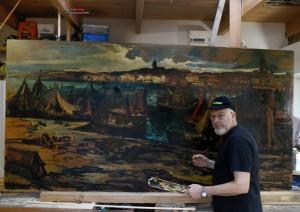 Restauration tableau : d ' André Boul : Port de Boulogne -sur-Mer 1949